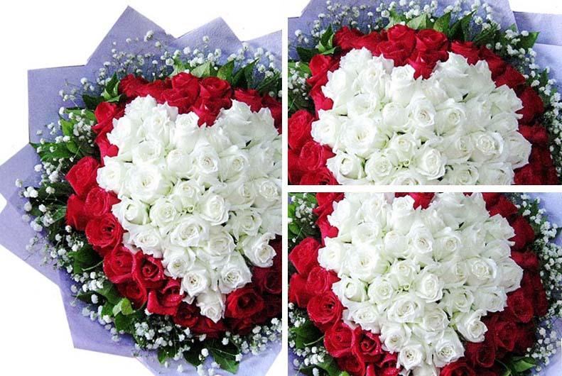 收进杂志   喜欢   66朵白玫瑰 33朵红玫瑰 心形花束 武汉鲜花店送花   #依然憧憬着爱情的甜蜜#