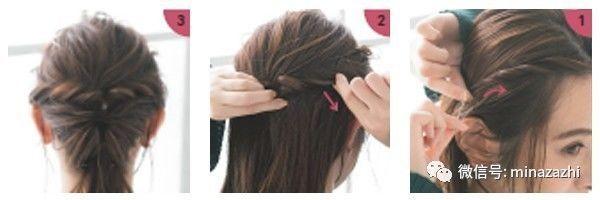 1、从两边如图位置各取一簇头发,从发根拧转到耳后左右的长度即可。 2、两簇头发汇合,在拧转的末尾用橡皮筋固定住,然后调整一下。 3、用发饰装点一下,然后抽出剩下的散发,整理干净。 三、OL风低马尾