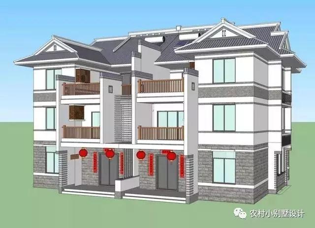 农村别墅户型图,三层8.5x13米双拼,带车库套间(含平面图)