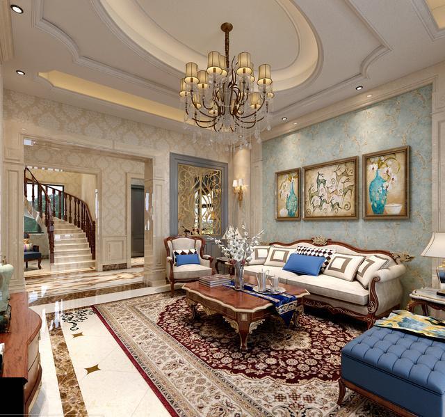 其余大面积采用了墙纸以及艺术漆来装饰,整个空间在搭配结合上显得图片