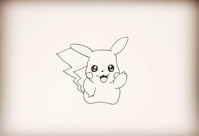每日一画 | 《皮卡丘》简笔画,闪电尾巴超可爱!