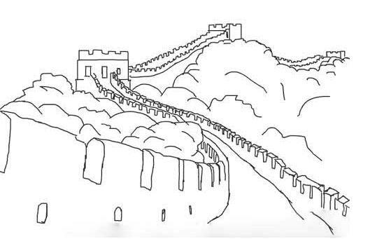简笔画风景图片-雄伟的长城简笔画
