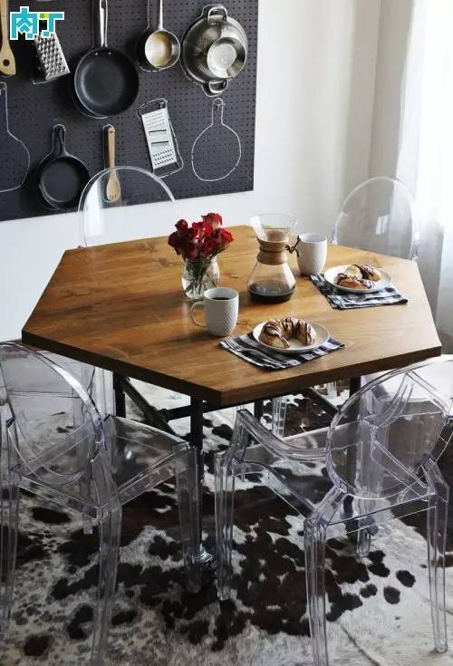 用木板铁架纯手工制作个性六边形餐桌的图解教程