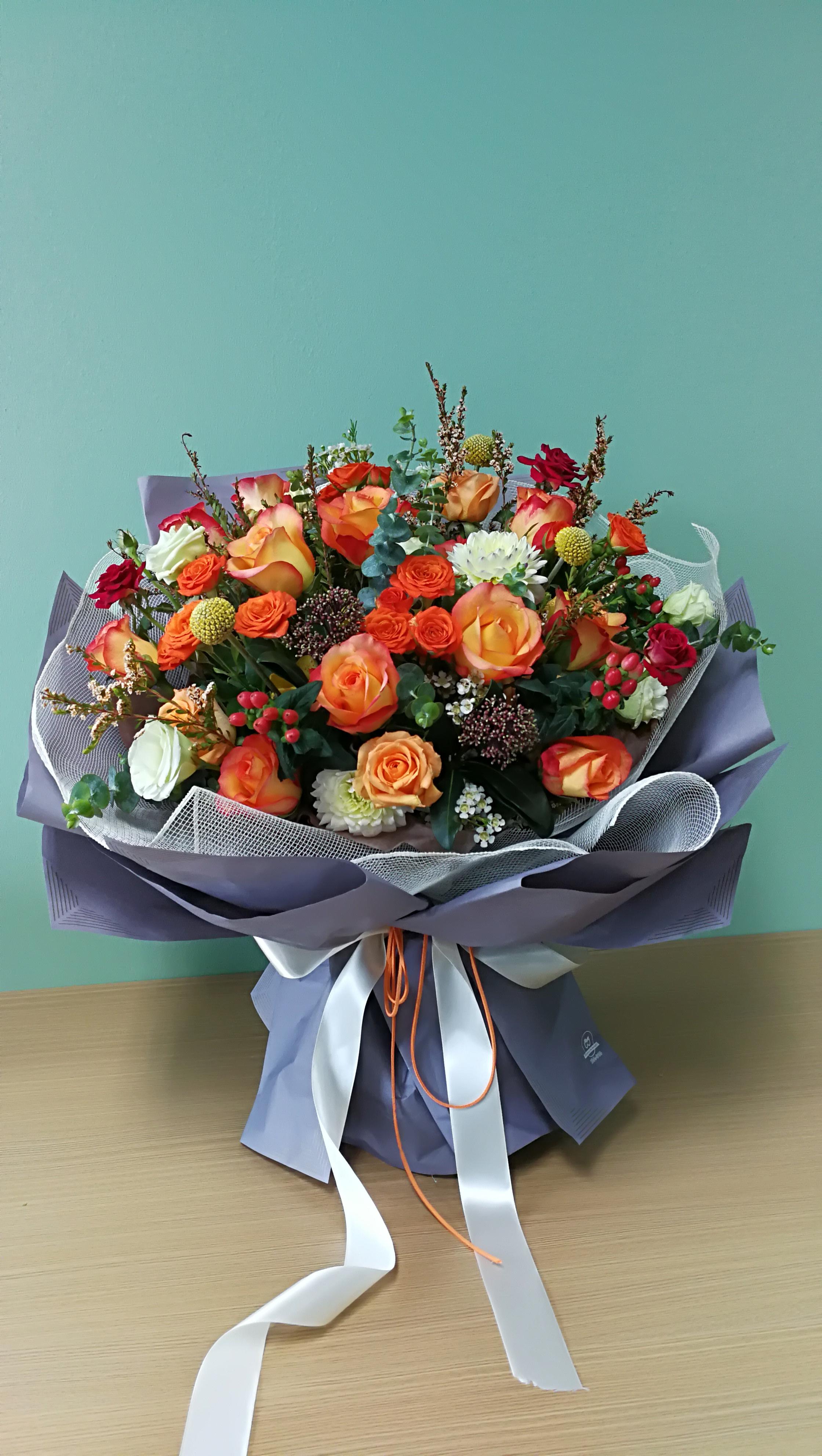 韩式花束#野奈花园#花艺培训#醇美花坊#玫瑰里鲜花