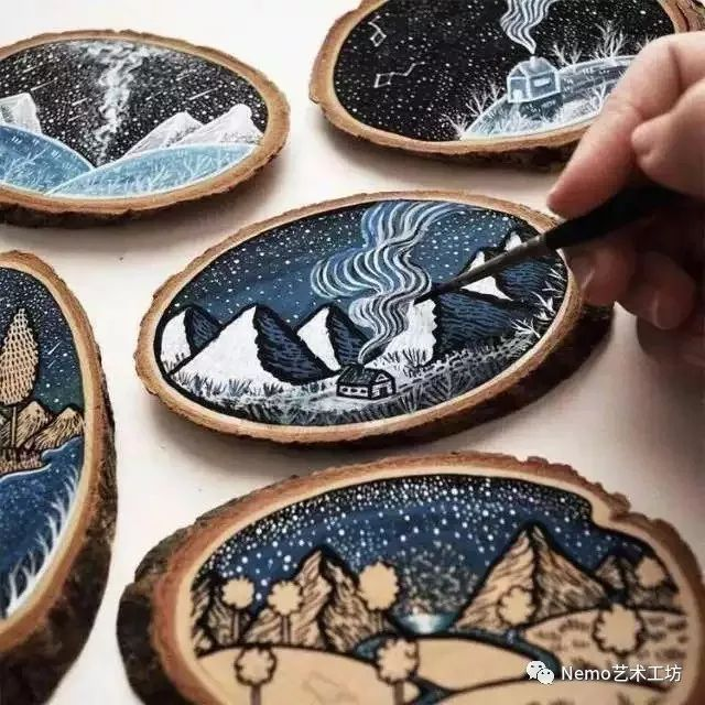 沙龙活动|手绘年轮木片画图片