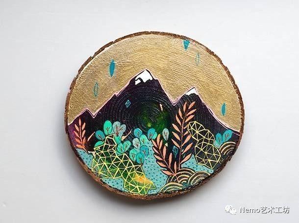沙龙活动 手绘年轮木片画图片