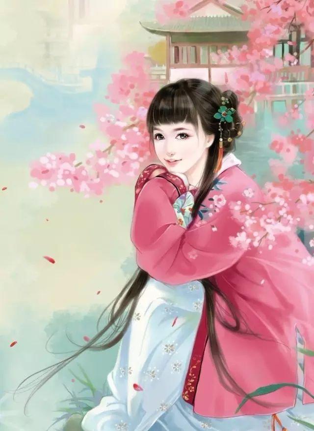 唐代手绘古典美女图片