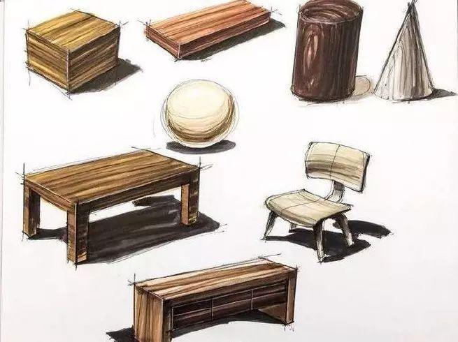 木质产品的手绘表现