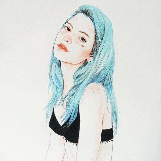 彩铅手绘女装插画(单比线条你已经输了!
