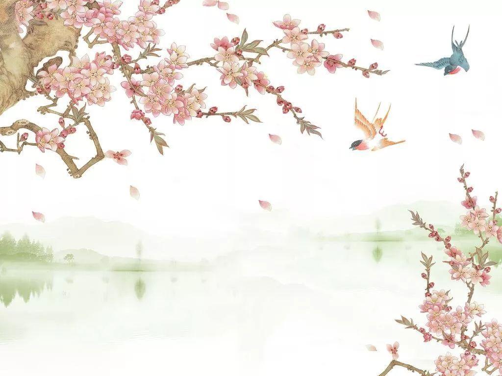 桃花叶手绘素材