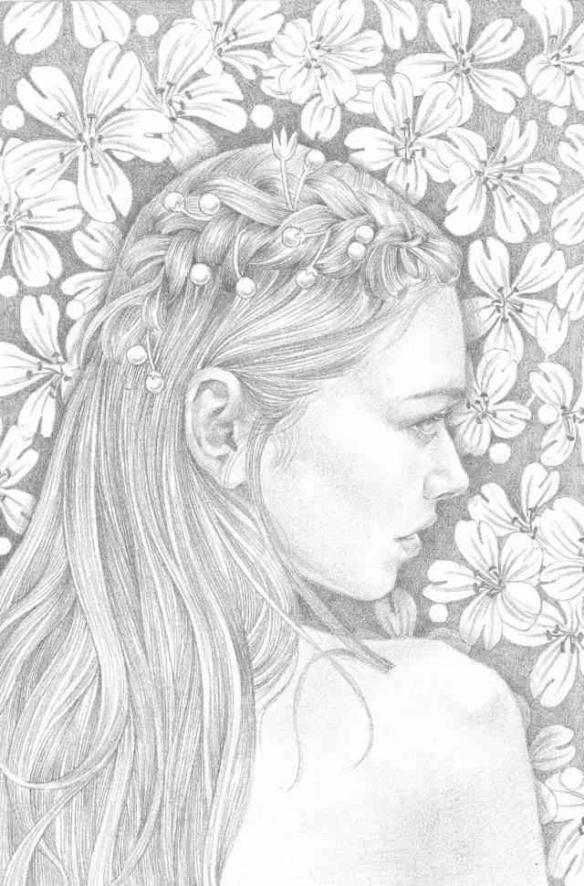 浪漫人物素描:婚礼中的梦幻少女