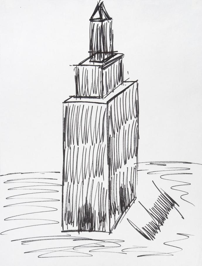 特朗普随手用马克笔画了画纽约帝国大厦.
