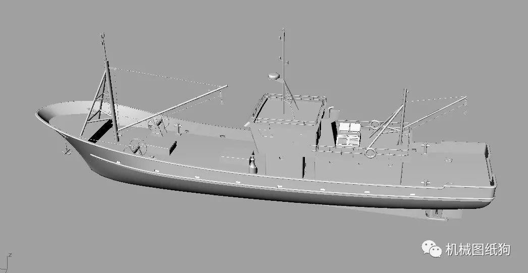 【海洋船舶】34米长渔船3d图纸 rhino犀牛设计 鱼船舶