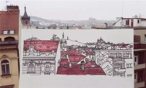 他一边旅行一边用马克笔画遍了整个欧洲
