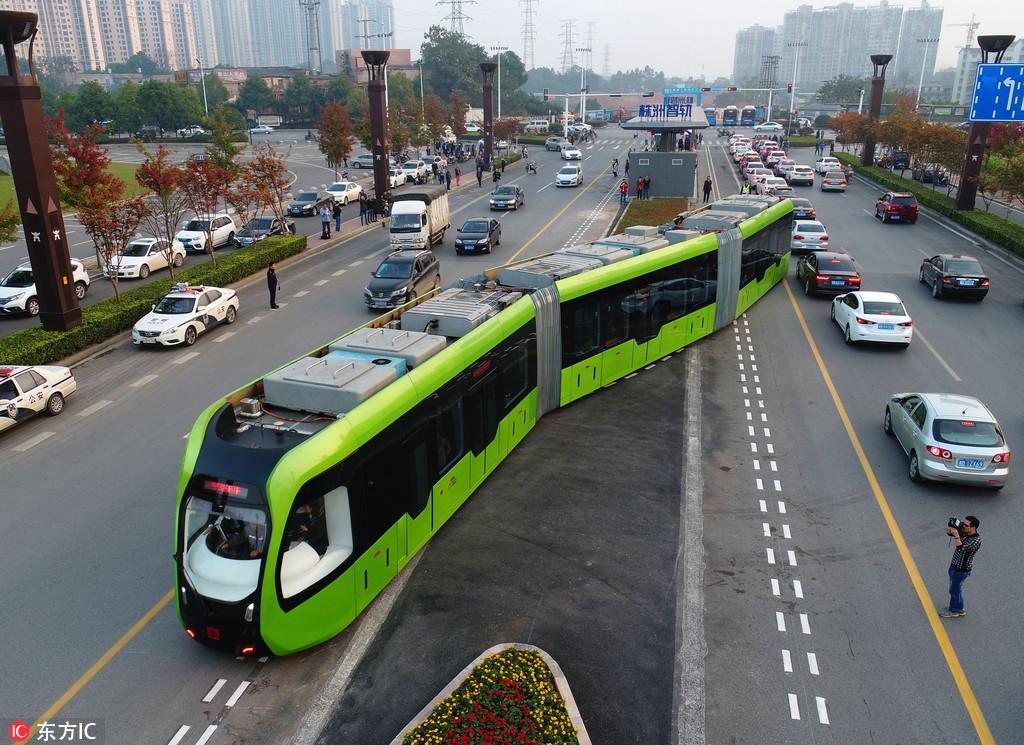 全球首列智轨列车正式实现在城市公共交通道路上试验运行