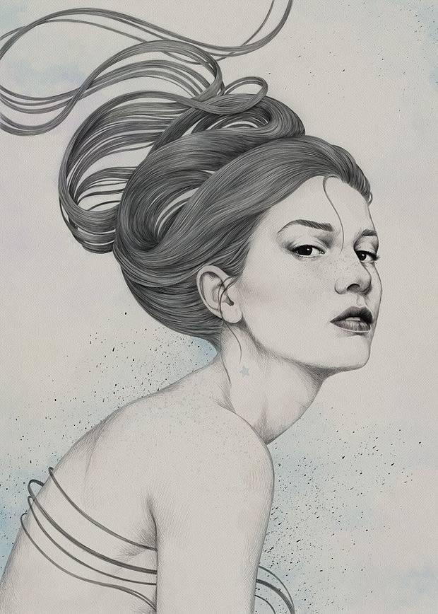 手绘插画 他用钢笔画出唯美忧伤的美人