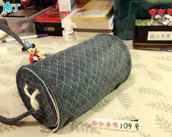 手工diy牛仔布压线桶包的做法图解教程