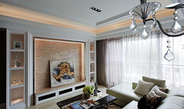 30种现代简约风格电视背景墙装修 壁纸大理石大白收纳