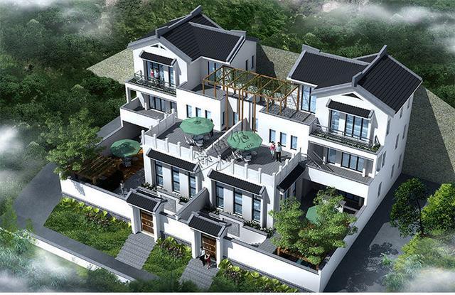 21套中式徽派四合院式别墅外观效果图,户型图全套建筑图片