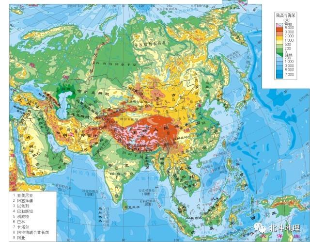 亚洲地形地图_谭木地理课堂——图说地理系列 第十四节 世界地理之-亚洲