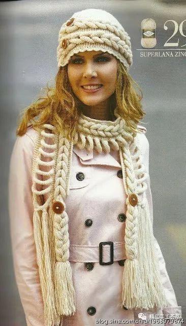漂亮辫子花样的帽子和围巾的织法