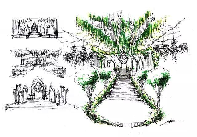 大型婚礼手绘效果图马克笔