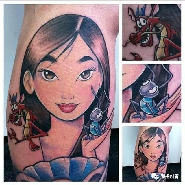 花木兰纹身手稿半臂分享展示