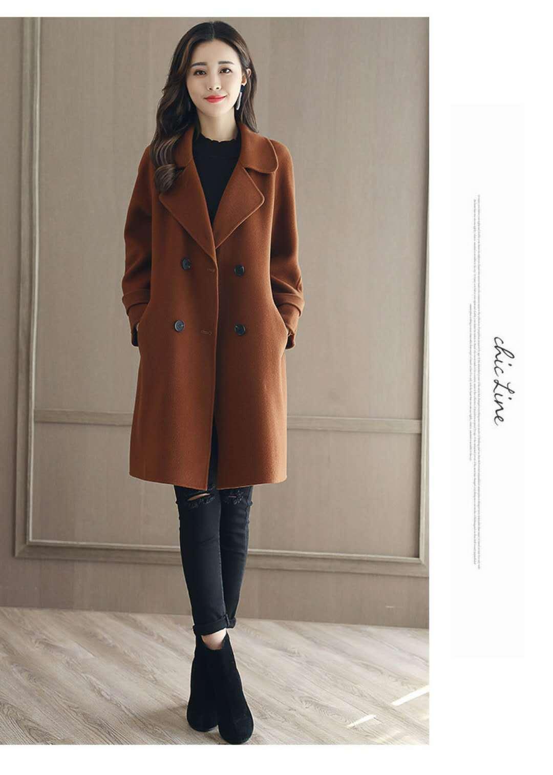 2017秋冬新款加棉加厚呢大衣呢子女风衣外套韩版时尚女装羊绒呢大衣图片