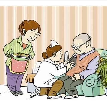 老人背影卡通手绘