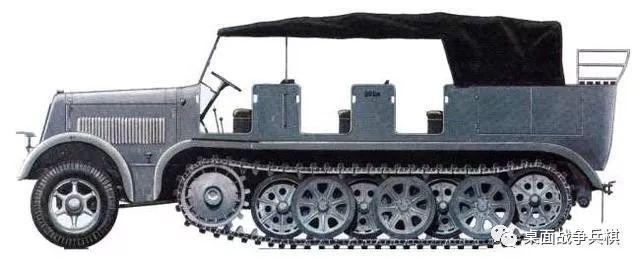 sdkfz 7半履带装甲运输车研制伊始是为了牵引88mm炮,包括配套的人员图片
