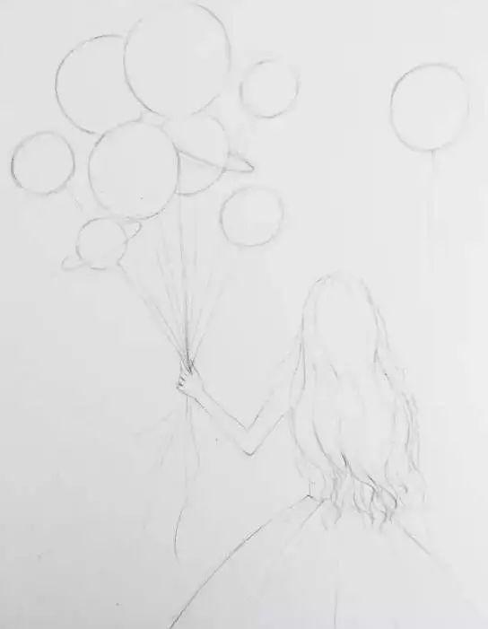 爱心气球简笔画黑白