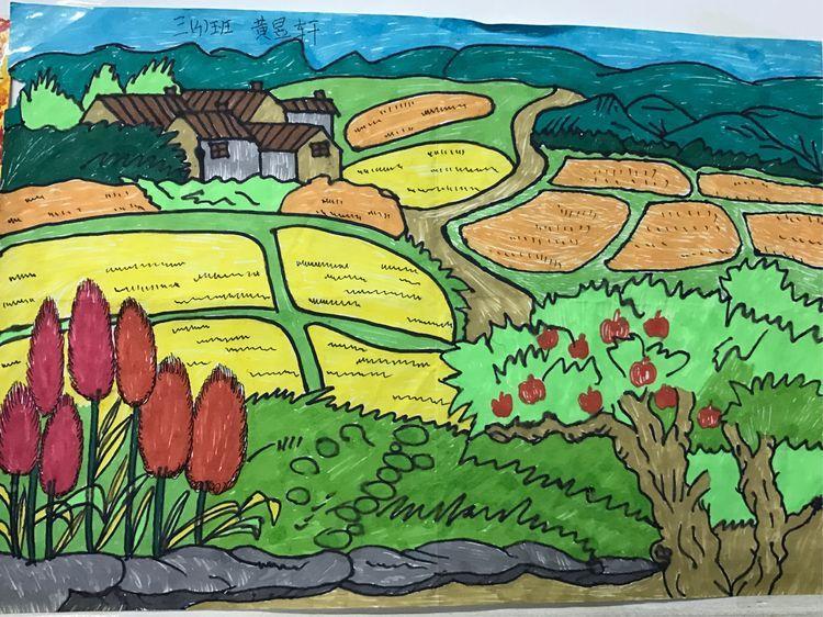 到乡村,树林,田野,公园找秋天,画秋天,看他们的作品,有没有很棒?