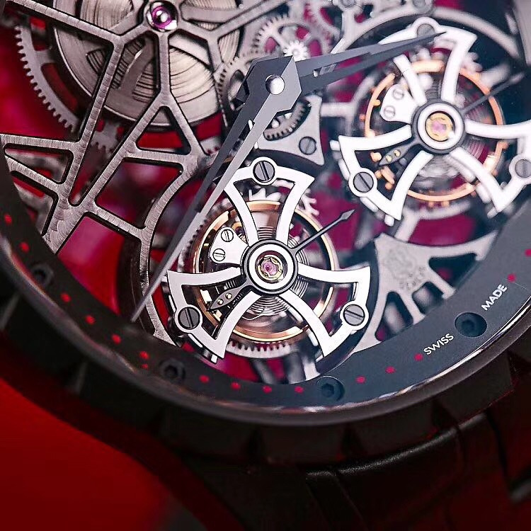 双陀飞轮 罗杰杜彼RDDBEX0364钛金属镂空腕表 常州哪里高价回收罗杰杜彼