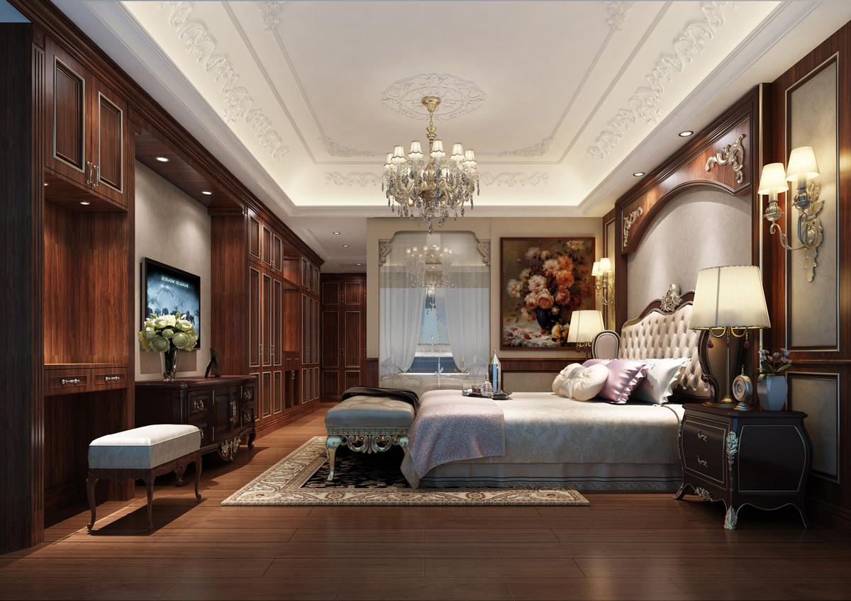 别墅古典主人房装修设计效果图