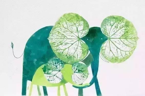 大象面具彩色手绘