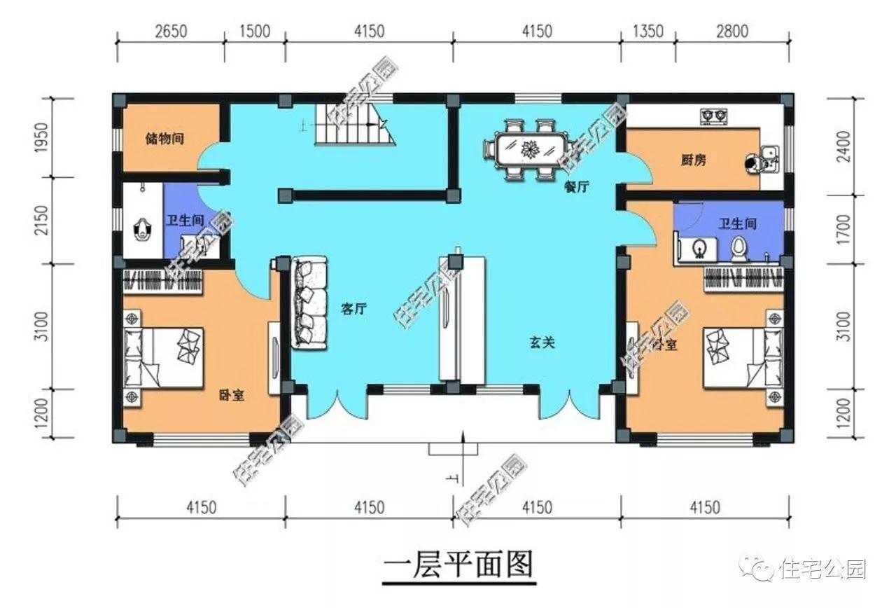 自建房平面图7字形