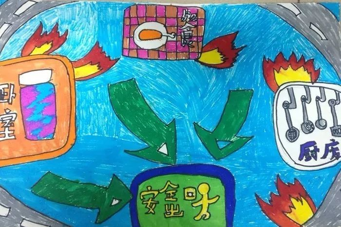 潍坊市中小学生家庭消防疏散逃生路线图绘画大赛评选啦!图片