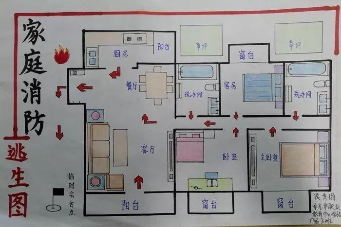 家庭逃生路线图简笔画_潍坊市中小学生家庭消防疏散逃生路线图绘画大赛评选啦!