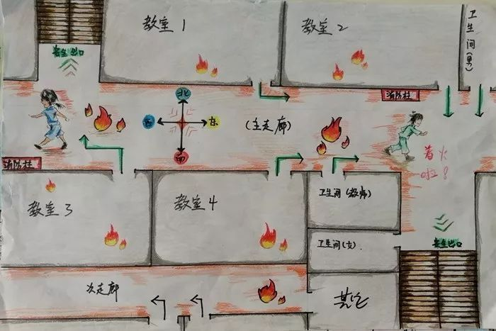 家庭消防逃生图儿童画_潍坊市中小学生家庭消防疏散逃生路线图绘画大赛评选啦!