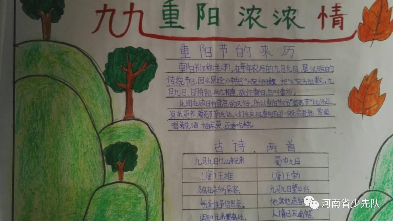 一张张手抄报表达了队员们对重阳节的感悟以及敬老爱老之情.