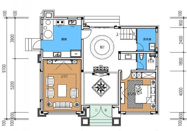 新农村三层房屋设计图 共2套 效果图 彩色平面图