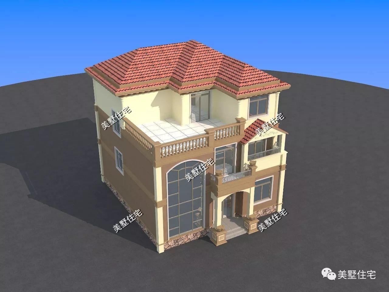 11x13米带露台飘窗三层农村别墅,造型高大上,符合现代农村