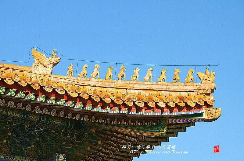 太和殿是故宫等级最高的建筑,它的角脊之上排列的动物也最多,共10个