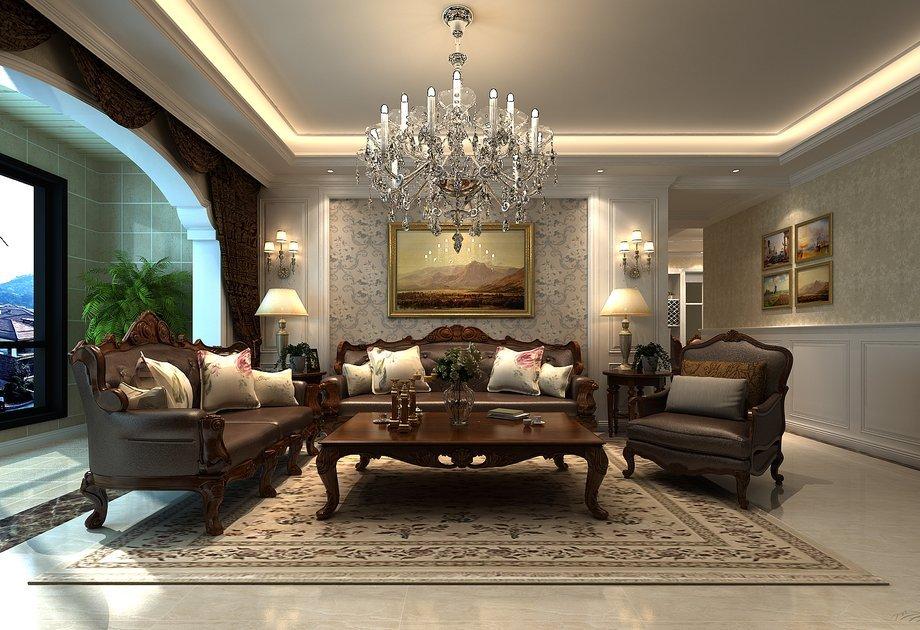 郑州广电天韵123平三室两厅欧式风格装修效果图——沙发背景墙装修