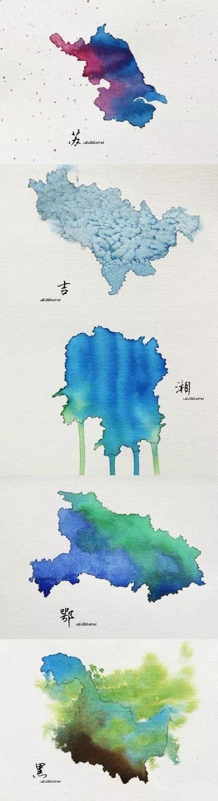 中国34省市手绘水彩地图,看看你家乡是哪种颜色?