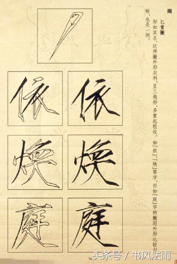 柳叶撇:写时由轻至重,然后略转侧势,提锋收笔.图片
