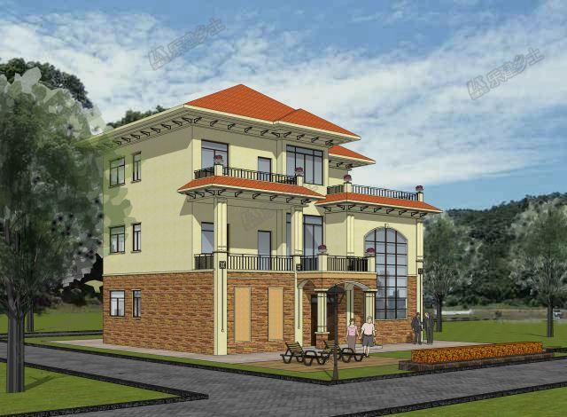 14x11米欧式别墅,三层多阳台设计,轻奢大气