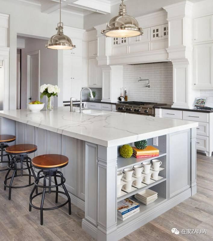 嵌入水盆或厨电,可根据嵌入产品的尺寸提前预留 厨房中岛并不是大图片