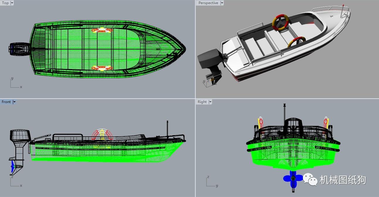 【海洋船舶】小型快艇设计图纸 rhino建模 3dm格式