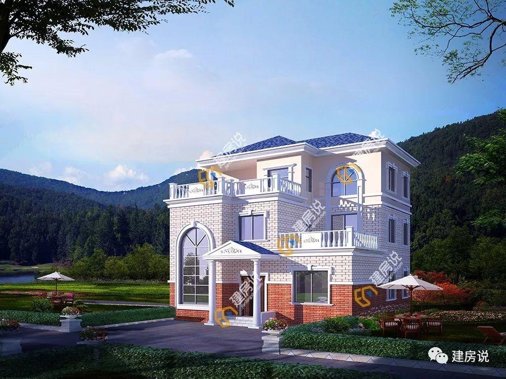 这套是二层农村别墅,有着欧美田园风格,清新优雅,造型很是美观,让人